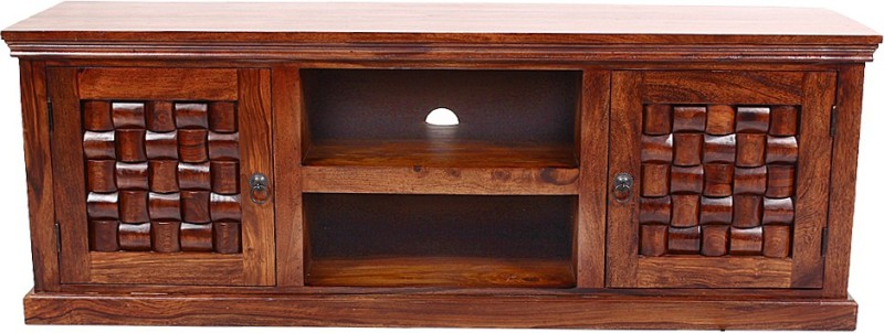 Blueginger Solid Wood TV Stand(Finish Color - Walnut Brown)