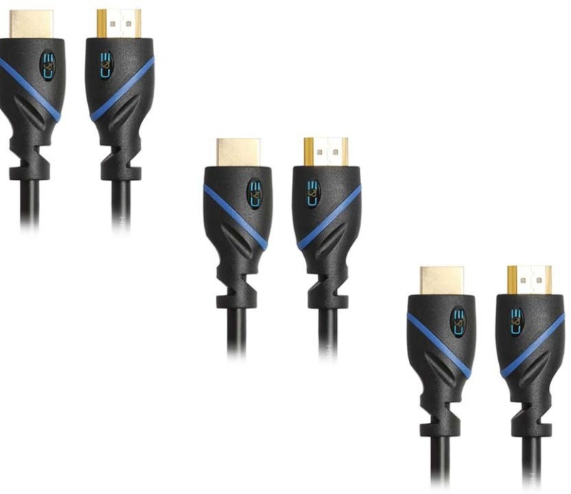 C&E  TV-out Cable High Speed HDMI Cable with Ethernet CL3 Certified Supports 3D and Audio Return Channel, 10Feet,3Pack(Black, For Xbox, 3.048 m)