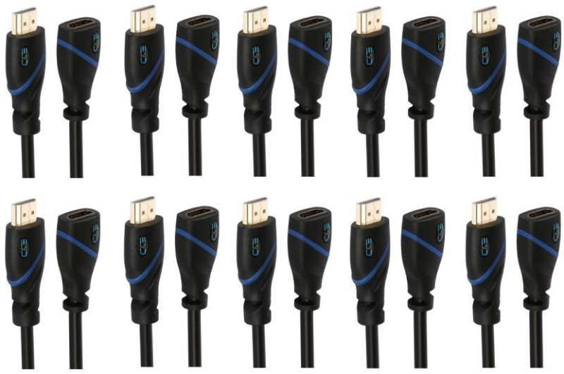 C&E  TV-out Cable 3 Feet HDMI Extension Male to Female, 10 Pack(Black, For Xbox, 0.9144 m)