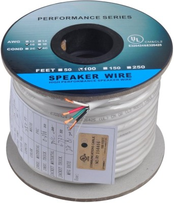 C&E  TV-out Cable 100 Feet 16AWG CL2 Rated 4-Conductor Loud Speaker Cable (For In-Wall Installation)