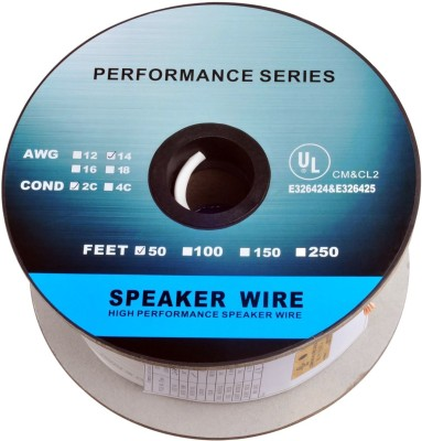 C&E  TV-out Cable 50 Feet 14AWG CL2 Rated 2-Conductor Loud Speaker Cable (For In-Wall Installation)