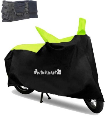 AutoKraftZ Premium Bike Body Cover Black & Green::Half Cut Leather Gloves For Hero Splender I Smart Combo