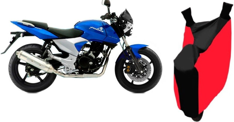 AutoKit Two Wheeler Cover for Bajaj(Pulsar 200 NS DTS-i, Red, Black)