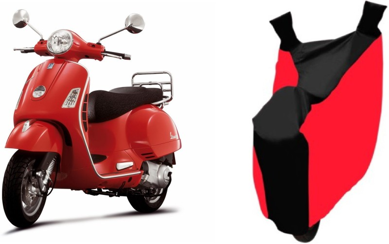 AutoKit Two Wheeler Cover for Piaggio(Vespa LX, Red, Black)