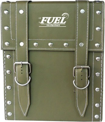 OSS-FUEL Saddle Bag Premium Large For Bikes St-14 One-side Green Leatherette Motorbike Saddlebag