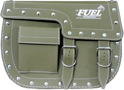 OSS-FUEL Saddle Bag Premium Large For Bikes St-8 One-side Green Leatherette Motorbike Saddlebag