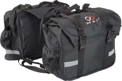 Infiniti Double-side Black Fabric Motorbike Saddlebag(50 L)