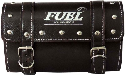 OSS-FUEL Saddle Bag Premium For Cruiser Bikes One-side Brown Leatherette Motorbike Saddlebag
