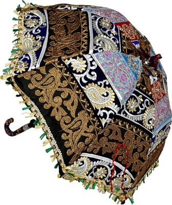 Lal Haveli Jaipuri Embroidery Design Cotton Single Fold Umbrella