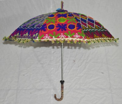 Lal Haveli Rajasthani Embroidery Work Cotton One Fold Designer Umbrella(Multicolor)