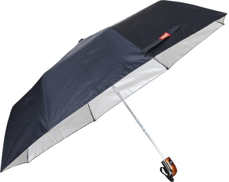 Real Amazon 3 Fold Black Silver Umbrella(Black)