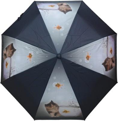Murano 3 Fold Auto Open RST Print Design Cat on Panel 400157_F Trendy Umbrella
