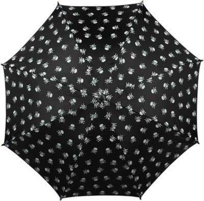 TELLO Single Fold Skull Print Umbrella Black Umbrella