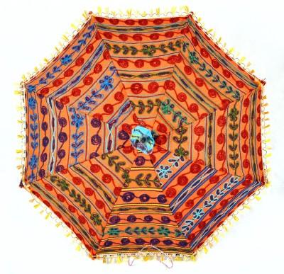 c8e286e95736a 50%off Lal Haveli Vintage Rajasthani Rural Handmade Embroidered Umbrella (Orange)
