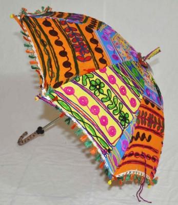 Lal Haveli Ethnic Design Embroidery Work One Fold Fashionable Umbrella