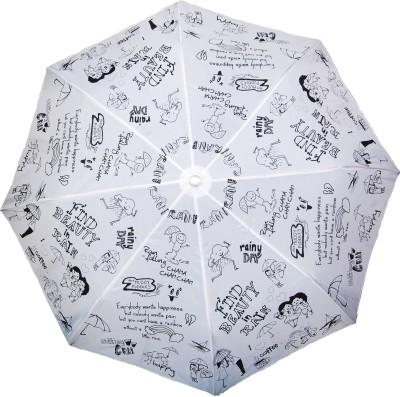 Cheeky Chunk Girls Rain Doodle Umbrella(White, Black)