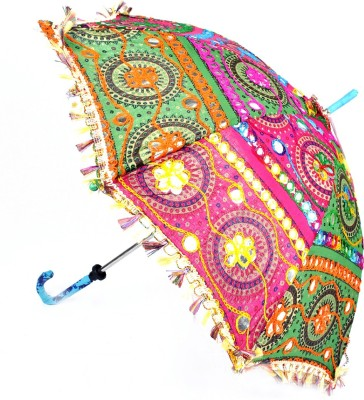 Lal Haveli Womens Cotton Parasol Rajasthani Embroidery Design Sun Umbrella(Multicolor)