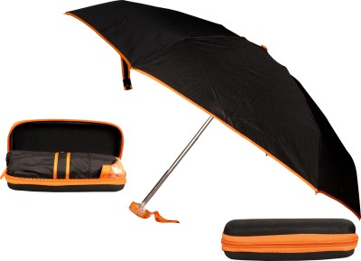 Bs Spy 5 Foldd Portable Black With Orange Lining With Case Umbrella