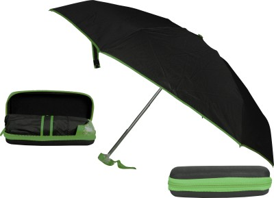Bs Spy 5 Foldd Portable Black With Green Lining With Case Umbrella