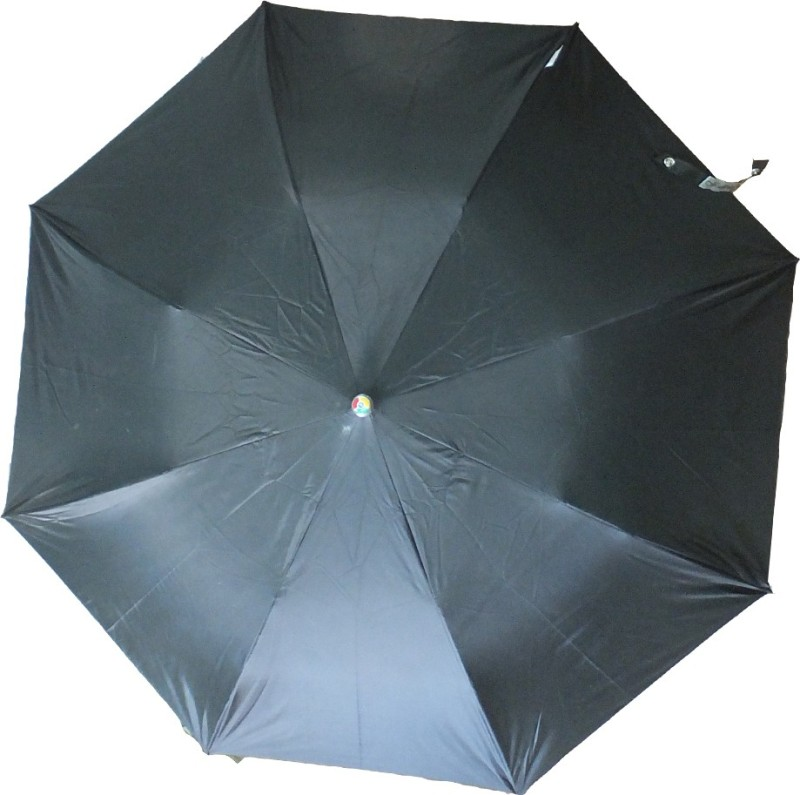 MOTHERLAND 2 Fold Black Silver Coated Umbrella(Black)