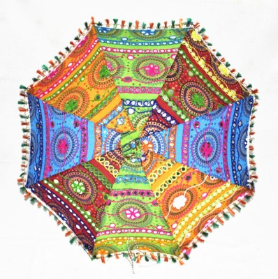 Lal Haveli Ethnic Tiki Work Design Embroidered Umbrella(Multicolor)