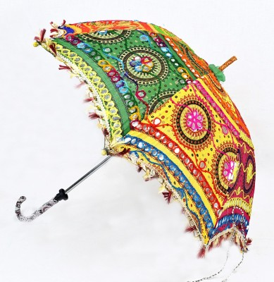 Lal Haveli Rajasthani Handmade Cotton Foldable Ethnic Summer Umbrella(Multicolor)
