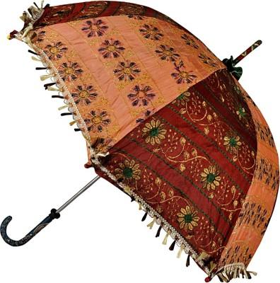 Lal Haveli Handmade Designer Sequins Zari Work Single Fold Small Umbrella