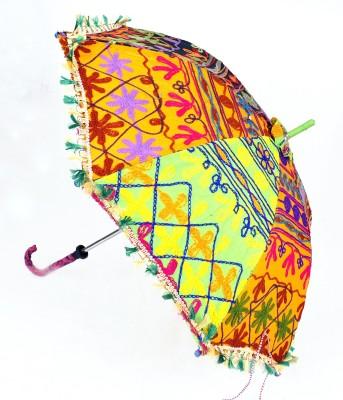Lal Haveli Womens Parasol Rajasthani Enbroidery Design Multicolor Sun Umbrella(Multicolor)