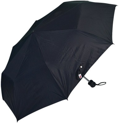 Elephant 3 Fold Black Silver Coated Unisex Umbrella