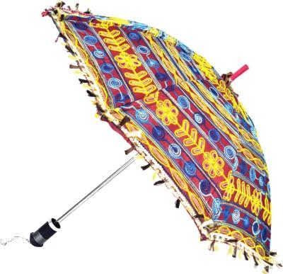 Lal Haveli Womens Cotton Single Fold Sun Umbrella(Maroon)