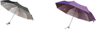 Bs Spy Pakiza Purple 3 Fold Pack Of 2(1 black) Umbrella
