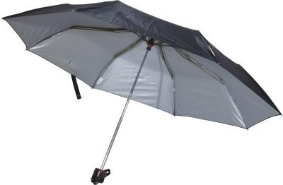 Fendo Hand Open 3 Fold Nylon Fabric Black Trigger Umbrella(Black)