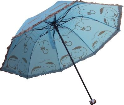Black Guard 3 Fold Manual Open Smiley Face Umbrella