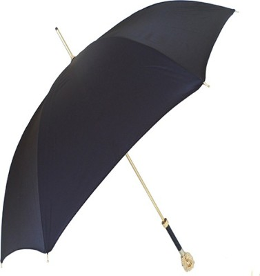 A&T London Black With Gold Lion Handle Umbrella