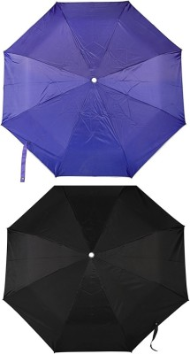Bemoreee 3 Fold Black & Blue - Set of 2 Umbrella