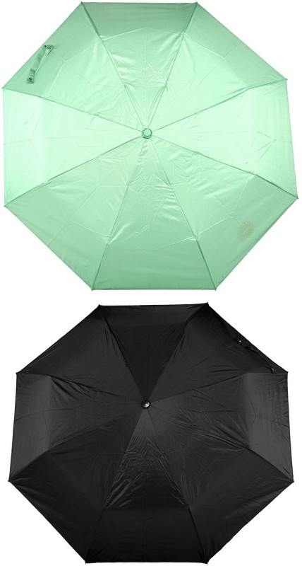 Bizarro Plain Combo-3-Fold (Set of 2) A Umbrella(Green, Black)