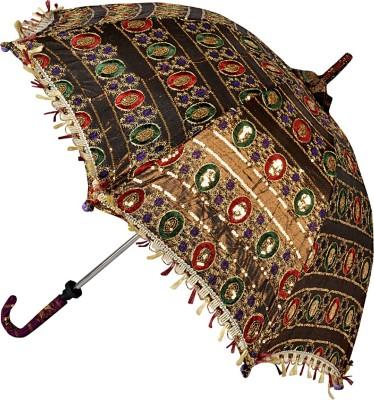 Lal Haveli Rajasthani Sequins Design Zari Work Summer Umbrella