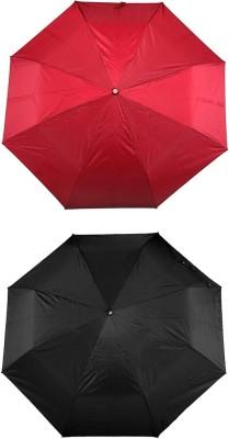 ZARSA Black and Red 3 Fold set of 2 Umbrella