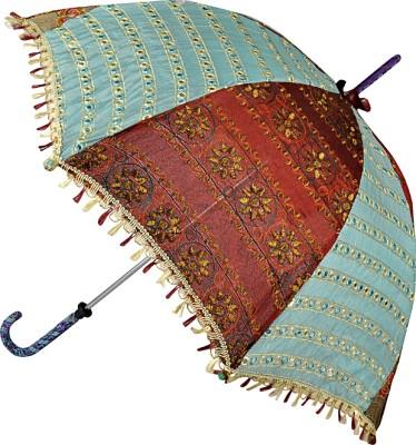 Lal Haveli Handmade Designer Sequins Zari Work Single Fold Summer Umbrella
