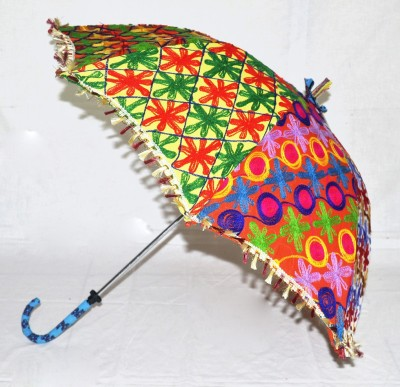 Lal Haveli Handmade Designer Cotton Fashionable Single Fold Umbrella