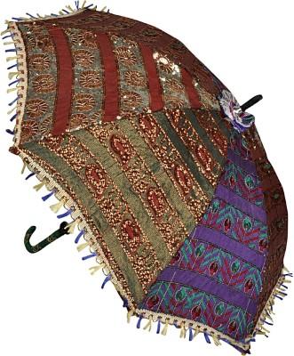 Lal Haveli Embroidery Work Cotton Single Fold Umbrella