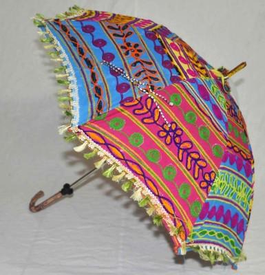 Lal Haveli Embroidery Design Womens One Fold Summer Umbrella
