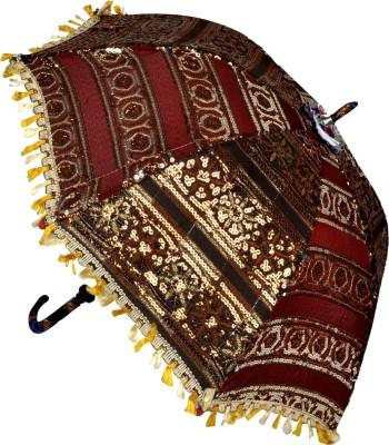 Lal Haveli Ladies Beautiful Embroidery Design Single Fold Cotton Umbrella