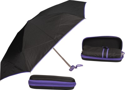 Bs Spy 5 Foldd Portable Black With Purple Lining With Case Umbrella