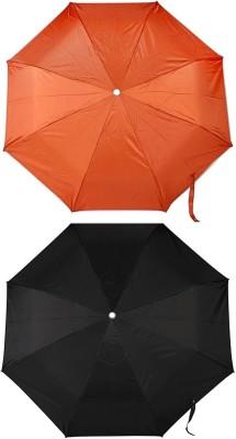 ZARSA Orange and Black 8 stick Umbrella