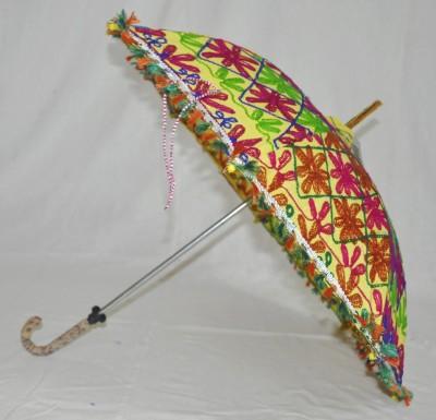 Lal Haveli Rajasthani Embroidery Work Cotton Umbrella(Yellow)