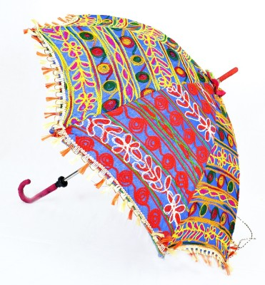 Lal Haveli Indian Handmade Ethnic Fashionable Cotton Summer Umbrella(Blue)