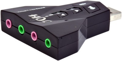 HOC Virtual 7.1 Channel Sound Audio adapter & 4 in 1 Sound Card(Black)