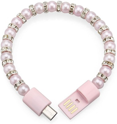 KARP Bracelet Necklace Pearl wrist line data portable beaded fashion bracelet USB charging cable for Samsung HTC Phone-Pink USB-P-2811 USB Charger