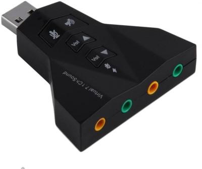 Techvik Airplane External Virtual 7.1 Channel Stereo & Mic for PC Laptop And Desktop 3D Sound Card(Black)